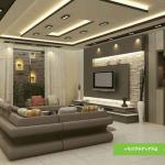 سقف کناف نشیمن با نورپردازی مدرن