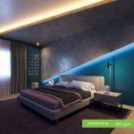 اجرای دیوار دکوراتیو نورمخفی در اتاق خواب