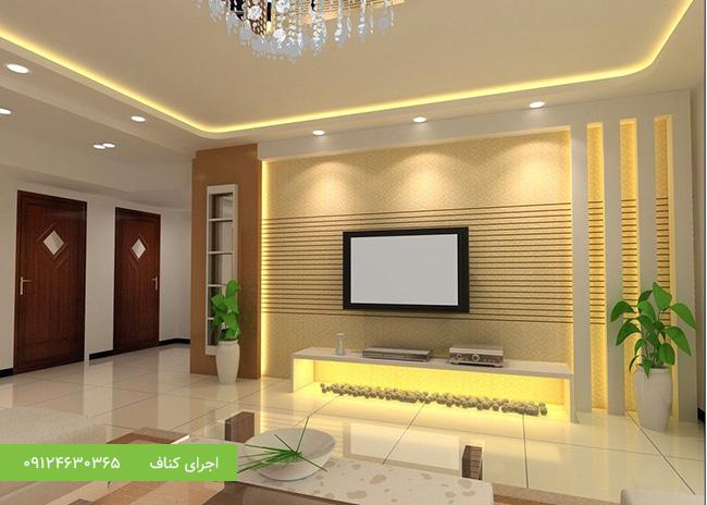 سقف کاذب کناف اتاق نشیمن،نورپردازی سقف