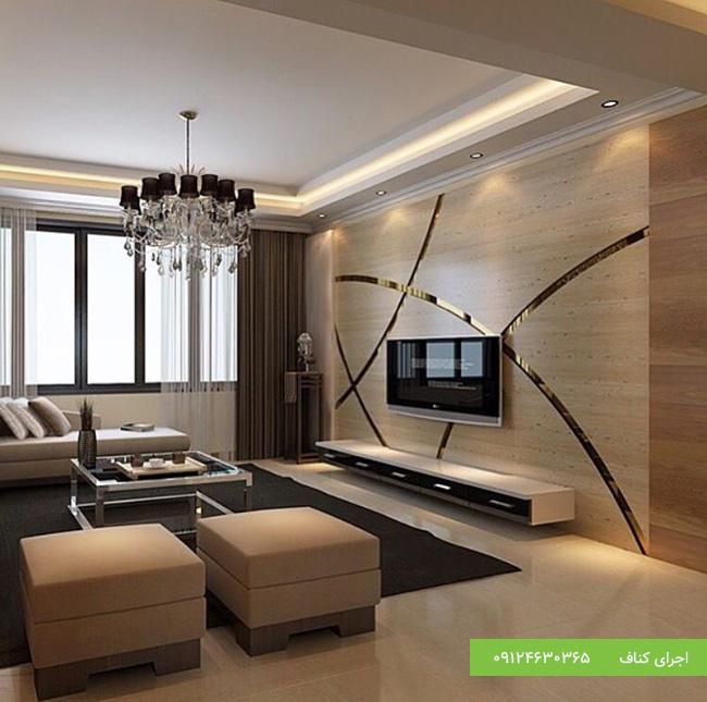 طرح مدرن کناف برای سقف کاذب اتاق نشیمن