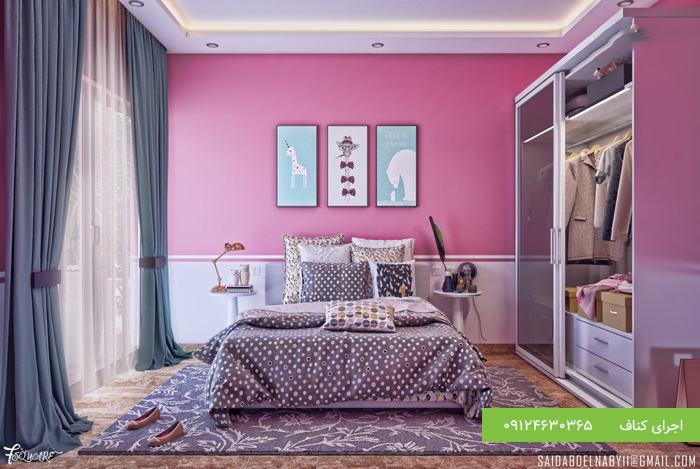 طرح کناف برای سقف اتاق خواب