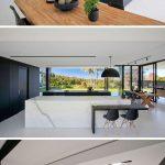 کناف کاری مدرن با نور مخفی سقف آشپزخانه